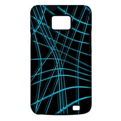 Cyan and black warped lines Samsung Galaxy S II i9100 Hardshell Case (PC+Silicone)