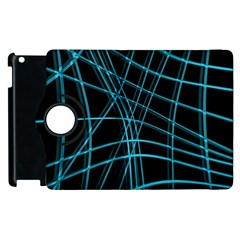 Cyan and black warped lines Apple iPad 3/4 Flip 360 Case