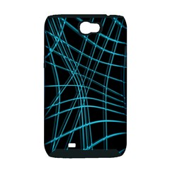 Cyan and black warped lines Samsung Galaxy Note 2 Hardshell Case (PC+Silicone)