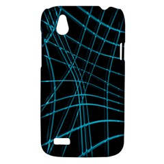 Cyan and black warped lines HTC Desire V (T328W) Hardshell Case