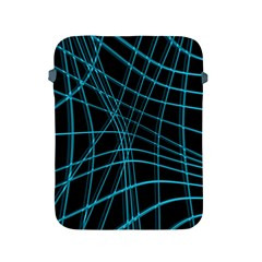 Cyan and black warped lines Apple iPad 2/3/4 Protective Soft Cases