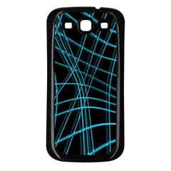 Cyan and black warped lines Samsung Galaxy S3 Back Case (Black)