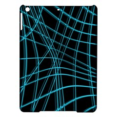 Cyan and black warped lines iPad Air Hardshell Cases