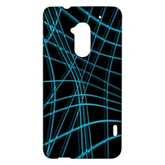 Cyan and black warped lines HTC One Max (T6) Hardshell Case