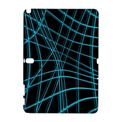 Cyan and black warped lines Samsung Galaxy Note 10.1 (P600) Hardshell Case