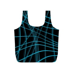 Cyan and black warped lines Full Print Recycle Bags (S)