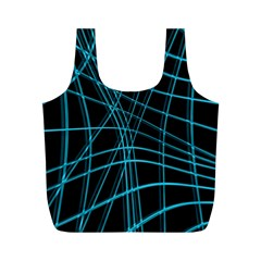 Cyan and black warped lines Full Print Recycle Bags (M)