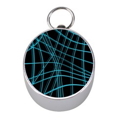 Cyan and black warped lines Mini Silver Compasses