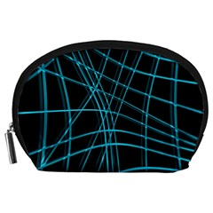 Cyan and black warped lines Accessory Pouches (Large)