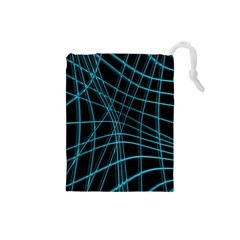 Cyan and black warped lines Drawstring Pouches (Small)