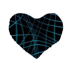 Cyan and black warped lines Standard 16  Premium Flano Heart Shape Cushions