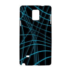 Cyan and black warped lines Samsung Galaxy Note 4 Hardshell Case