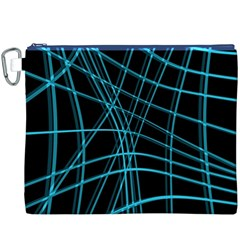 Cyan and black warped lines Canvas Cosmetic Bag (XXXL)