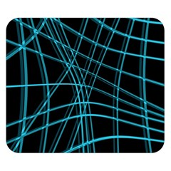 Cyan and black warped lines Double Sided Flano Blanket (Small)