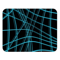Cyan and black warped lines Double Sided Flano Blanket (Large)