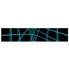 Cyan and black warped lines Flano Scarf (Small)