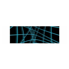 Cyan and black warped lines Satin Scarf (Oblong)