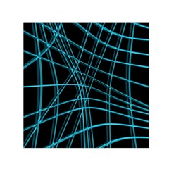 Cyan and black warped lines Small Satin Scarf (Square)