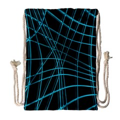 Cyan and black warped lines Drawstring Bag (Large)