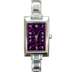 Purple and black warped lines Rectangle Italian Charm Watch