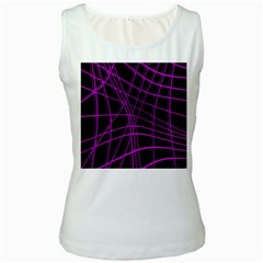 Purple and black warped lines Women s White Tank Top