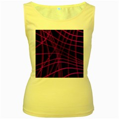 Purple and black warped lines Women s Yellow Tank Top