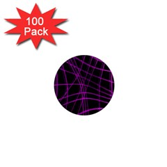 Purple and black warped lines 1  Mini Magnets (100 pack)
