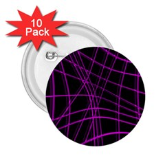 Purple and black warped lines 2.25  Buttons (10 pack)