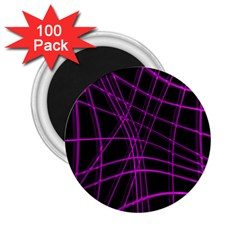 Purple and black warped lines 2.25  Magnets (100 pack)