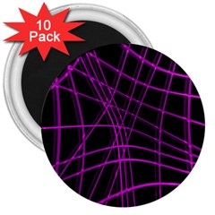 Purple and black warped lines 3  Magnets (10 pack)
