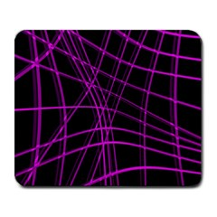 Purple and black warped lines Large Mousepads