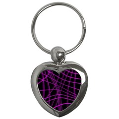 Purple and black warped lines Key Chains (Heart)