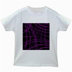 Purple and black warped lines Kids White T-Shirts