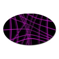 Purple and black warped lines Oval Magnet