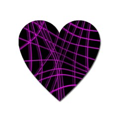 Purple and black warped lines Heart Magnet