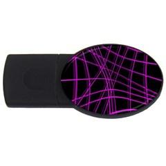 Purple and black warped lines USB Flash Drive Oval (1 GB)