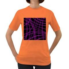 Purple and black warped lines Women s Dark T-Shirt