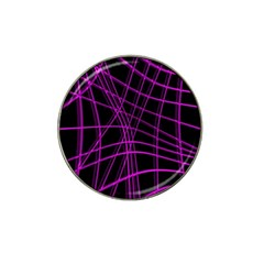 Purple and black warped lines Hat Clip Ball Marker