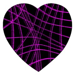 Purple and black warped lines Jigsaw Puzzle (Heart)