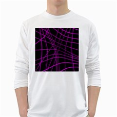 Purple and black warped lines White Long Sleeve T-Shirts