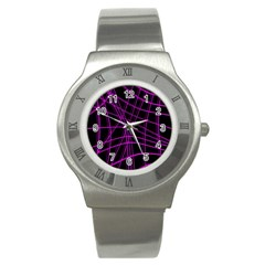 Purple and black warped lines Stainless Steel Watch