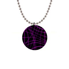 Purple and black warped lines Button Necklaces