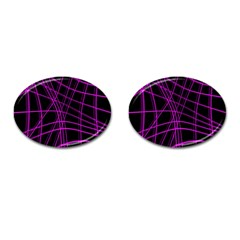 Purple and black warped lines Cufflinks (Oval)