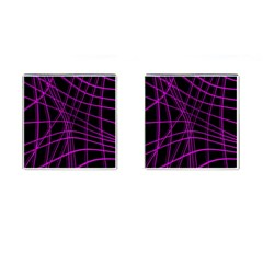 Purple and black warped lines Cufflinks (Square)