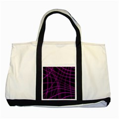 Purple and black warped lines Two Tone Tote Bag
