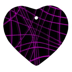 Purple and black warped lines Heart Ornament (2 Sides)