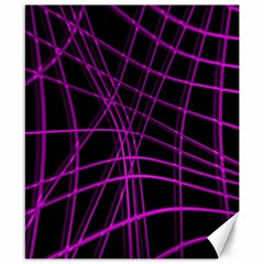 Purple and black warped lines Canvas 8  x 10
