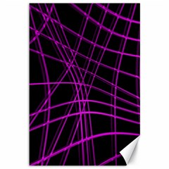 Purple and black warped lines Canvas 12  x 18