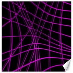 Purple and black warped lines Canvas 16  x 16