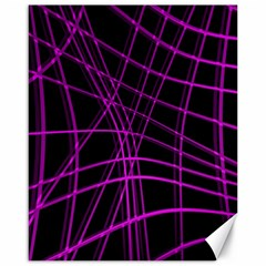 Purple and black warped lines Canvas 16  x 20